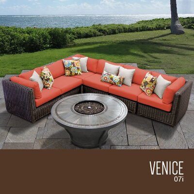 Venice Outdoor 7 Piece Wicker Sectional Set with Cushions Cushion Color: Tangerine