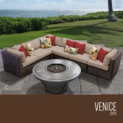 Venice Outdoor 7 Piece Wicker Sectional Set with Cushions Cushion Color: Wheat