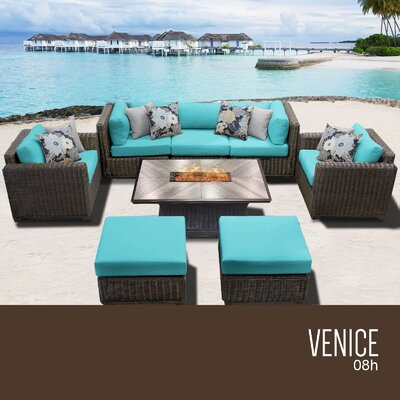 Venice Outdoor 8 Piece Wicker Conversation Set with Cushions Cushion Color: Aruba