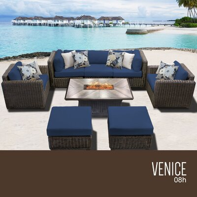 Venice Outdoor 8 Piece Wicker Conversation Set with Cushions Cushion Color: Navy