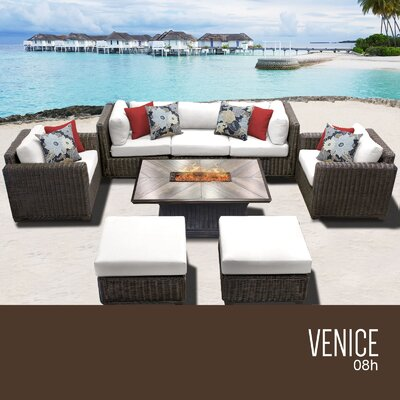 Venice Outdoor 8 Piece Wicker Conversation Set with Cushions Cushion Color: Sail White