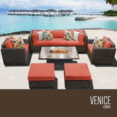Venice Outdoor 8 Piece Wicker Conversation Set with Cushions Cushion Color: Tangerine