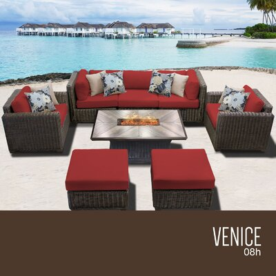 Venice Outdoor 8 Piece Wicker Conversation Set with Cushions Cushion Color: Terracotta