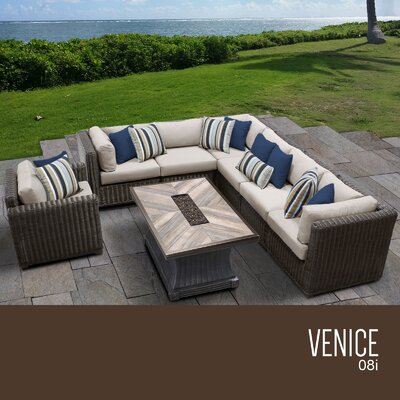 Venice Outdoor 8 Piece Wicker Conversation Set with Cushions Cushion Color: Beige