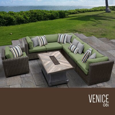 Venice Outdoor 8 Piece Wicker Conversation Set with Cushions Cushion Color: Cilantro