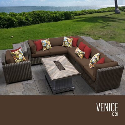 Venice Outdoor 8 Piece Wicker Conversation Set with Cushions Cushion Color: Cocoa