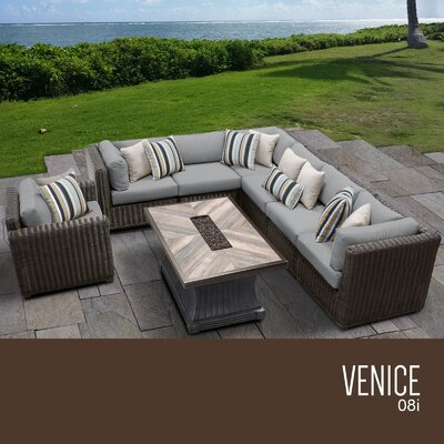 Venice Outdoor 8 Piece Wicker Conversation Set with Cushions Cushion Color: Gray