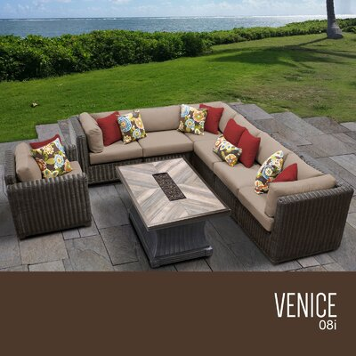 Venice Outdoor 8 Piece Wicker Conversation Set with Cushions Cushion Color: Wheat