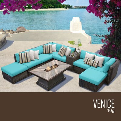 Venice Outdoor 10 Piece Wicker Conversation Set with Cushions Cushion Color: Aruba