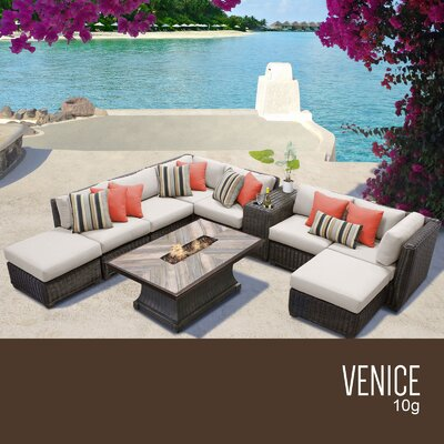 Venice Outdoor 10 Piece Wicker Conversation Set with Cushions Cushion Color: Beige