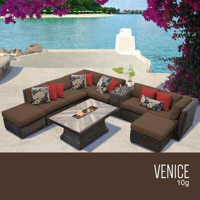 Venice Outdoor 10 Piece Wicker Conversation Set with Cushions Cushion Color: Cocoa