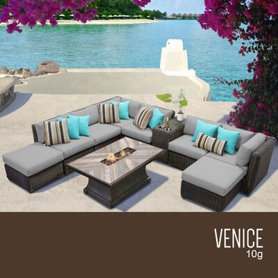 Venice Outdoor 10 Piece Wicker Conversation Set with Cushions Cushion Color: Gray