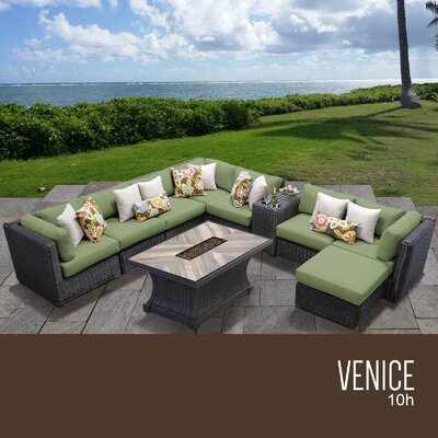 Venice Outdoor 10 Piece Wicker Conversation Set with Cushions Cushion Color: Cilantro