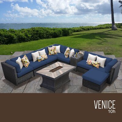 Venice Outdoor 10 Piece Wicker Conversation Set with Cushions Cushion Color: Navy