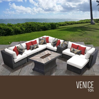 Venice Outdoor 10 Piece Wicker Conversation Set with Cushions Cushion Color: Sail White
