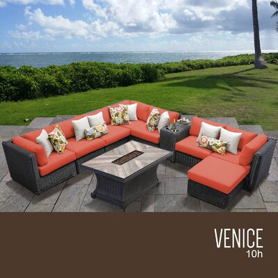 Venice Outdoor 10 Piece Wicker Conversation Set with Cushions Cushion Color: Tangerine