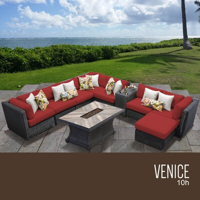 Venice Outdoor 10 Piece Wicker Conversation Set with Cushions Cushion Color: Terracotta