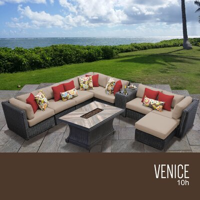 Venice Outdoor 10 Piece Wicker Conversation Set with Cushions Cushion Color: Wheat