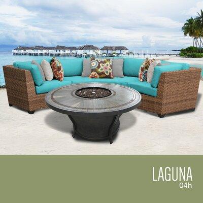 Laguna Outdoor 4 Piece Wicker Sectional Set with Cushions Cushion Color: Aruba