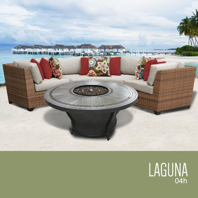 Laguna Outdoor 4 Piece Wicker Sectional Set with Cushions Cushion Color: Beige