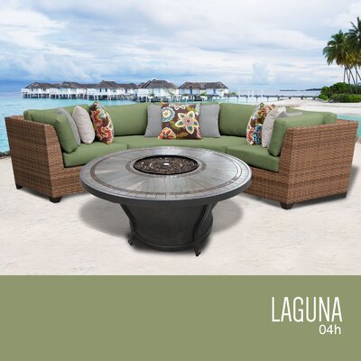 Laguna Outdoor 4 Piece Wicker Sectional Set with Cushions Cushion Color: Cilantro