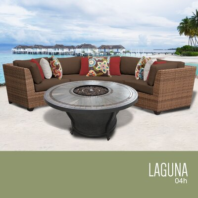 Laguna Outdoor 4 Piece Wicker Sectional Set with Cushions Cushion Color: Cocoa