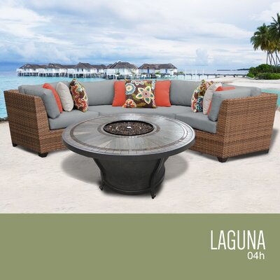 Laguna Outdoor 4 Piece Wicker Sectional Set with Cushions Cushion Color: Gray