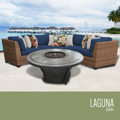 Laguna Outdoor 4 Piece Wicker Sectional Set with Cushions Cushion Color: Navy