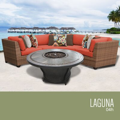 Laguna Outdoor 4 Piece Wicker Sectional Set with Cushions Cushion Color: Tangerine