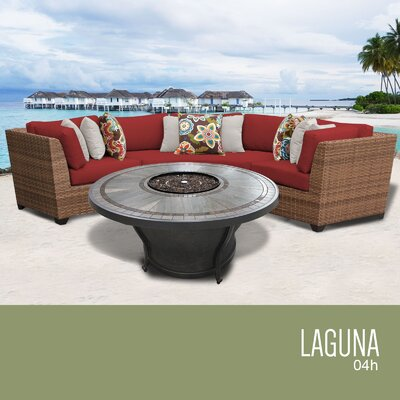 Laguna Outdoor 4 Piece Wicker Sectional Set with Cushions Cushion Color: Terracotta