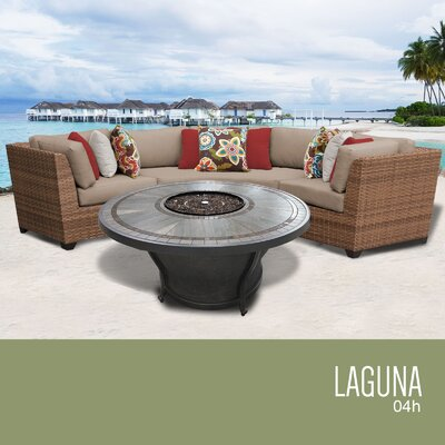 Laguna Outdoor 4 Piece Wicker Sectional Set with Cushions Cushion Color: Wheat