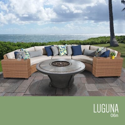 Laguna Outdoor 6 Piece Wicker Sectional Set with Cushions Cushion Color: Beige