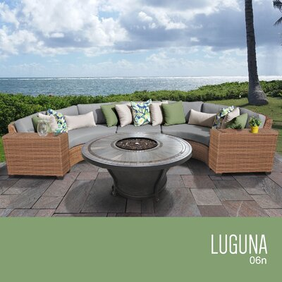 Laguna Outdoor 6 Piece Wicker Sectional Set with Cushions Cushion Color: Gray