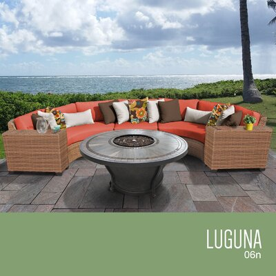 Laguna Outdoor 6 Piece Wicker Sectional Set with Cushions Cushion Color: Tangerine