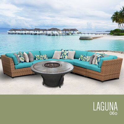 Laguna Outdoor 6 Piece Wicker Sectional Set with Cushions Cushion Color: Aruba