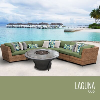 Laguna Outdoor 6 Piece Wicker Sectional Set with Cushions Cushion Color: Cilantro