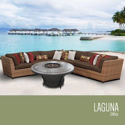 Laguna Outdoor 6 Piece Wicker Sectional Set with Cushions Cushion Color: Cocoa