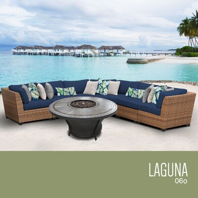 Laguna Outdoor 6 Piece Wicker Sectional Set with Cushions Cushion Color: Navy
