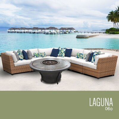Laguna Outdoor 6 Piece Wicker Sectional Set with Cushions Cushion Color: Sail White