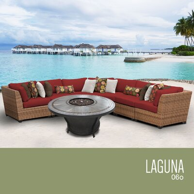 Laguna Outdoor 6 Piece Wicker Sectional Set with Cushions Cushion Color: Terracotta
