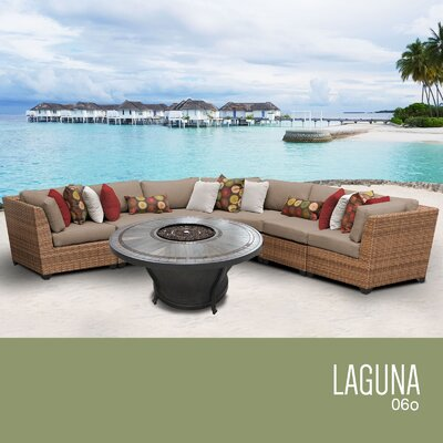 Laguna Outdoor 6 Piece Wicker Sectional Set with Cushions Cushion Color: Wheat