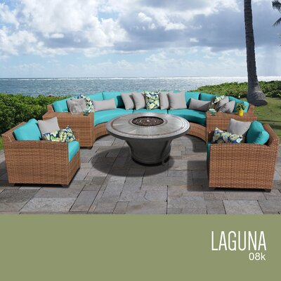 Laguna Outdoor Wicker 8 Piece Rattan Sectional Set Cushion Color: Aruba