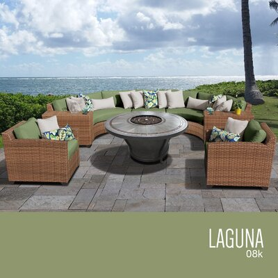 Laguna Outdoor Wicker 8 Piece Rattan Sectional Set Cushion Color: Cilantro