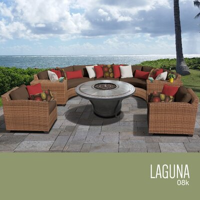 Laguna Outdoor Wicker 8 Piece Rattan Sectional Set Cushion Color: Cocoa