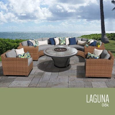 Laguna Outdoor Wicker 8 Piece Rattan Sectional Set Cushion Color: Gray