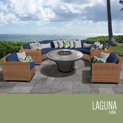 Laguna Outdoor Wicker 8 Piece Rattan Sectional Set Cushion Color: Navy