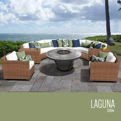 Laguna Outdoor Wicker 8 Piece Rattan Sectional Set Cushion Color: Sail White