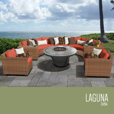 Laguna Outdoor Wicker 8 Piece Rattan Sectional Set Cushion Color: Tangerine