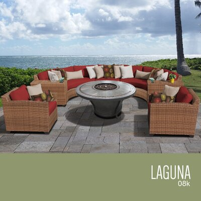 Laguna Outdoor Wicker 8 Piece Rattan Sectional Set Cushion Color: Terracotta