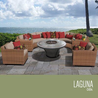 Laguna Outdoor Wicker 8 Piece Rattan Sectional Set Cushion Color: Wheat